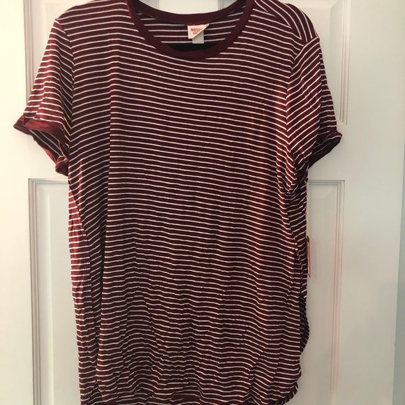Mossimo Supply Co. Tops - Maroon and white striped tshirt